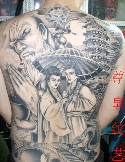 关公纹身手稿_关公降龙图片