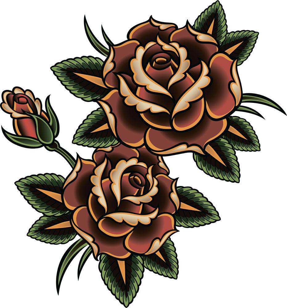 玫瑰纹身男/玫瑰纹身图案大全女/黑白玫瑰纹身手稿图片