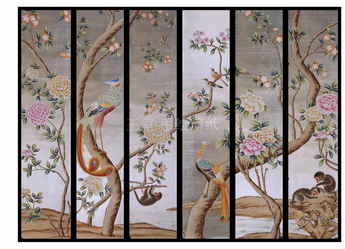 牡丹花鸟壁纸画图片
