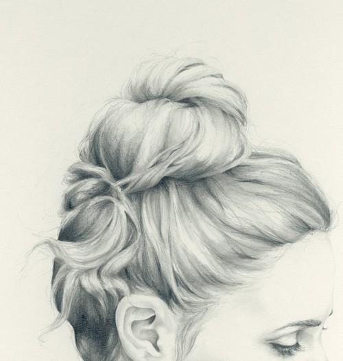 美丽的女孩 头发 绘画